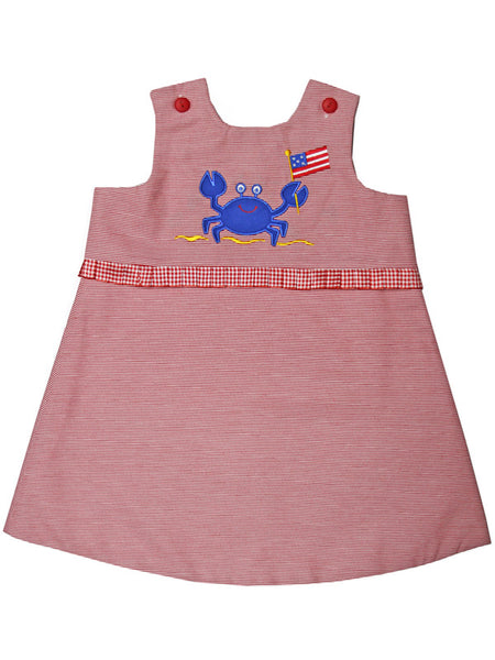 Toddler Girls Patriotic Reversible Summer Red Dress Crab Cupcakes