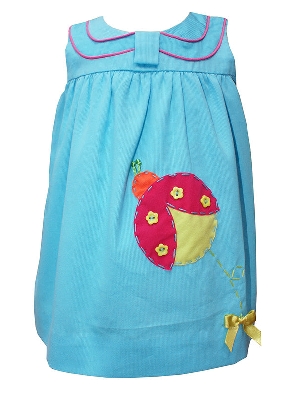 Baby girls ladybug appliqué summer cotton dress