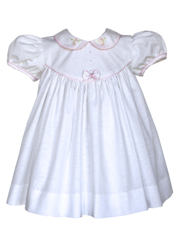 Baby Girls White Dress with Pink Embroidery 6m