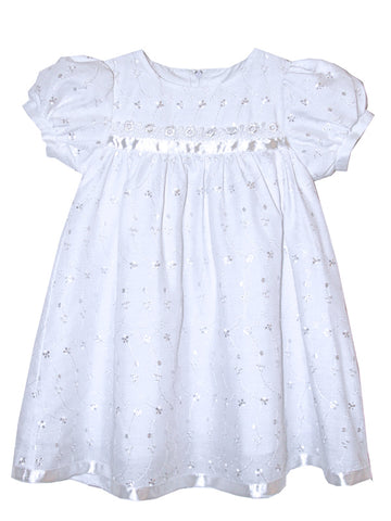 Baby Girls Embroidered White Dress 2T