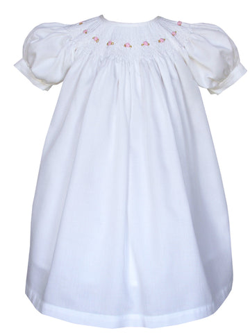Girls White Smocked Bishop Dress 18m