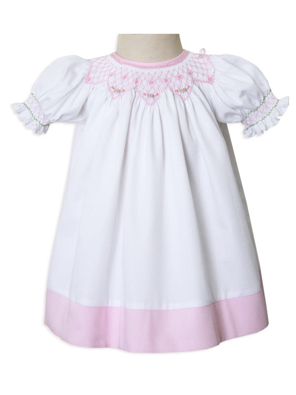 f9eddb82bb38 New Born Baby Girls White and Pink Smocked Portrait Bisho Dress