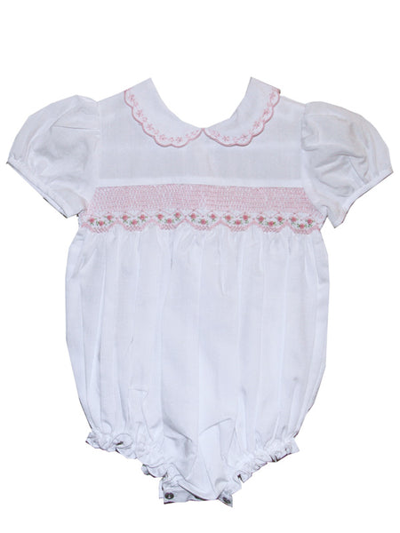 Baby Girls White and Pink Smocked Easter Bubble 9m