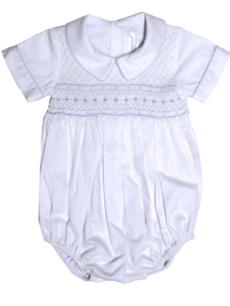 Baby Boy First Birthday Hand Smocked White Bubble 12m