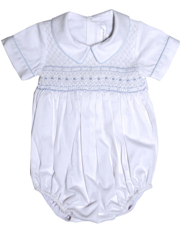 Baby Boy First Birthday White Bubble 12m Christening Outfit with Hand Smocking
