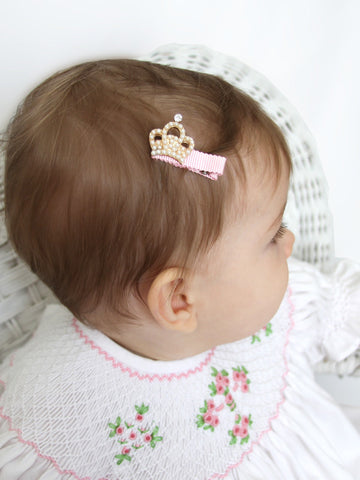 Baby Girls Crystal Crown Hair Clip--Carousel Wear - 1