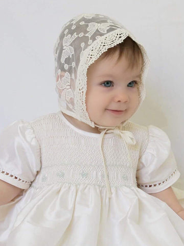 Baby Girls Bonnet in Ivory Lace for Christenings--Carousel Wear - 2