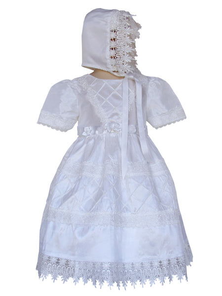 Baby Girls Guipur Christening Baptism Dress and Bonnet