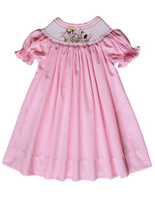 Girls Pink Smocked Easter Bunny Bishop Dress