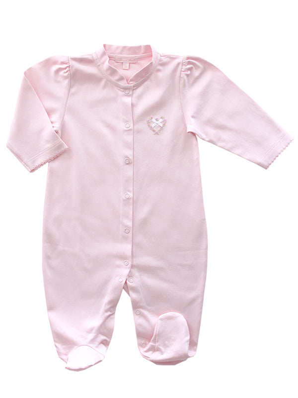 Baby Girls Pink Pima Footie, Optional Hat and Blanket