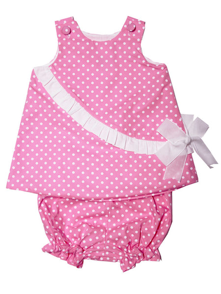 Baby Girls Pink Polka Dot 2pc Beach Set with Bloomers