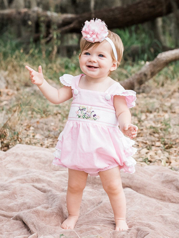 a62fd494751 Baby Girls Pink Smocked Ruffled Butt Bubble Easter Bunny