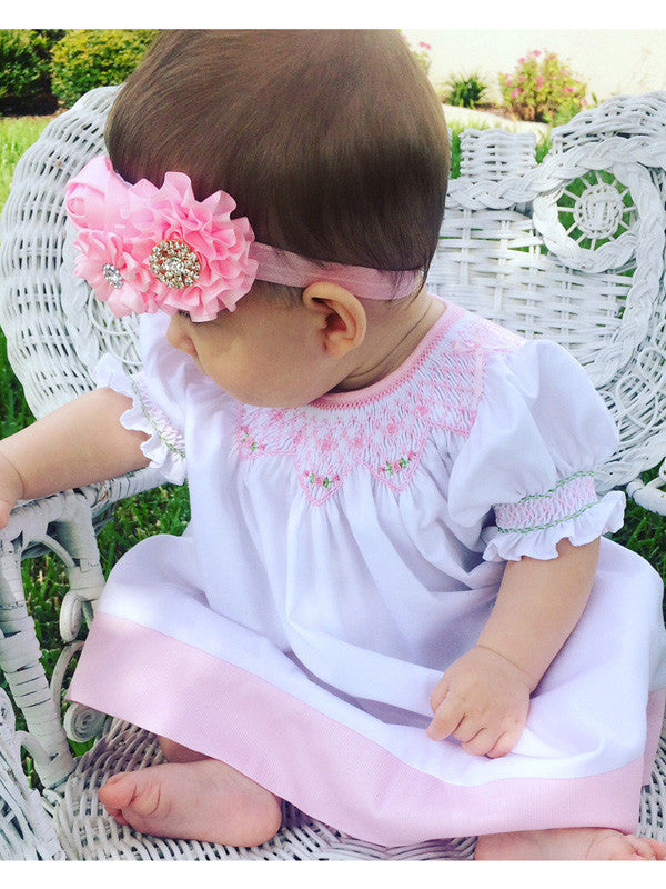 White Pink smocked bishop dress for baby girls