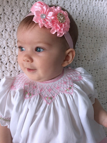 Hand smocked white and pink baby girls bishop dress