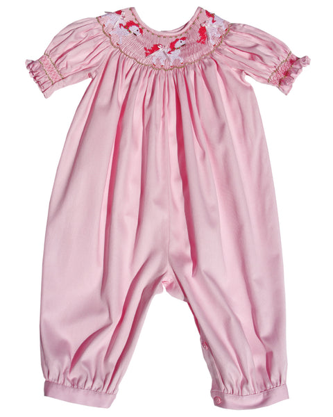 Baby Girls Pink Long Bubble Overalls with Smocked Carousel Horses--Carousel Wear - 1