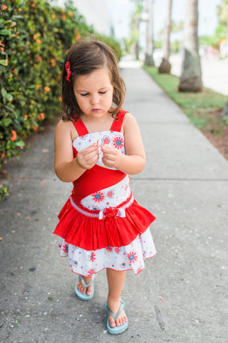 Gorgeous Red Ruffle Girls Summer Dress Mia--Carousel Wear - 1