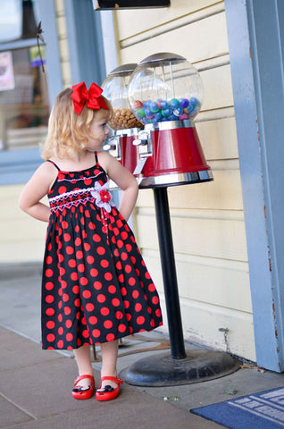 Girls Black and Red Polka Dot Vera Dress--Carousel Wear - 1