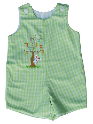 Easter Bunny Boys Romper in Green Gingham 50% off