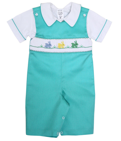 Boys Longalls Overalls with the Smocked Easter Bunny--Carousel Wear - 1