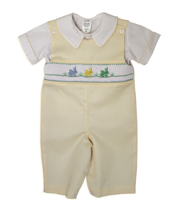Boys Easter Yellow Longall with Smocked Easter Bunnies--Carousel Wear