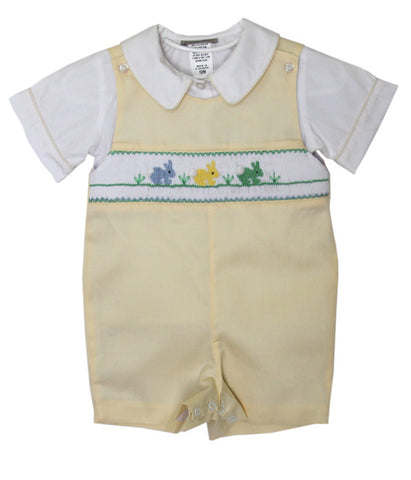 Boys Easter Yellow Shortall Romper with Smocked Easter Bunnies--Carousel Wear