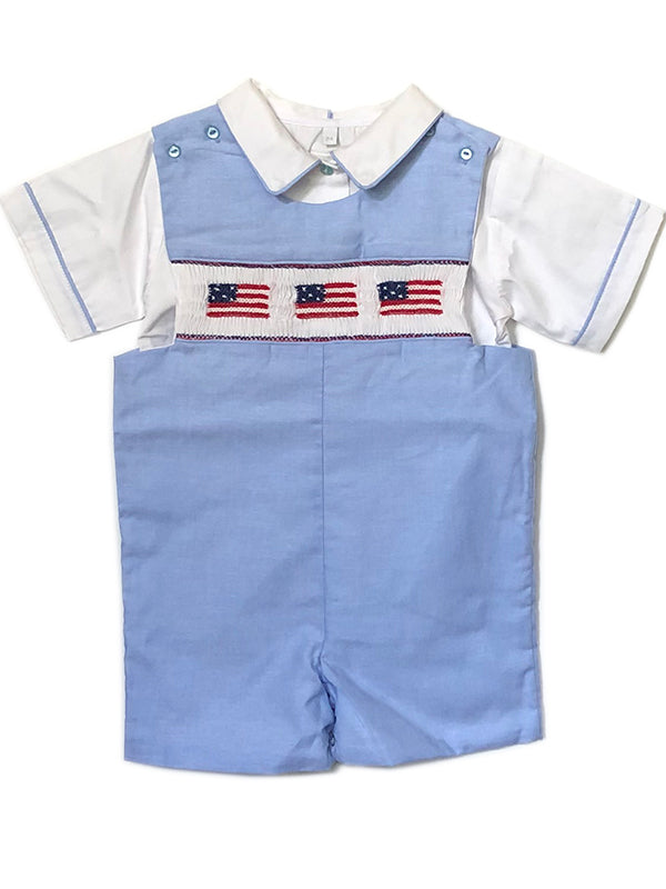 Smocked Boys Patriotic Outfit Shortall John John  USA FLAG
