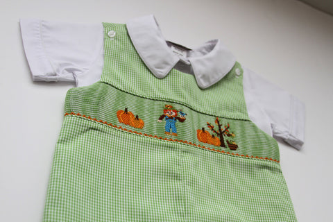 Boys Thanksgiving Shortall with Smocked Scarecrow and Pumpkins--Carousel Wear - 2