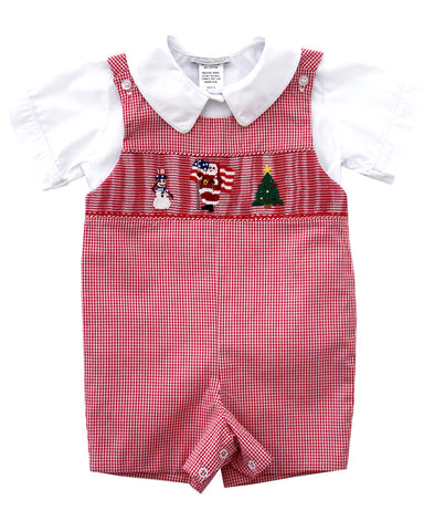 Baby Boy Smocked Santa Claus Christmas Shortall John John 12m--Carousel Wear - 1