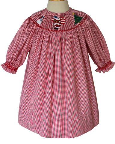 Girls Red Christmas Santa Bishop Dress Long-Sleeved--Carousel Wear - 1