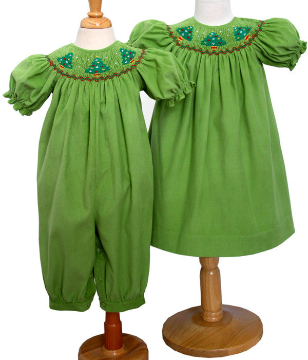 Baby Christmas Trees: Jolly Holiday Baby Girls Long Bubble With Smocked