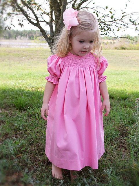 Girls Hand Smocked Spring Summer Bishop Dress