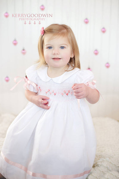 White Girls Easter Dress with Pink Ribbons and Hand Smocking