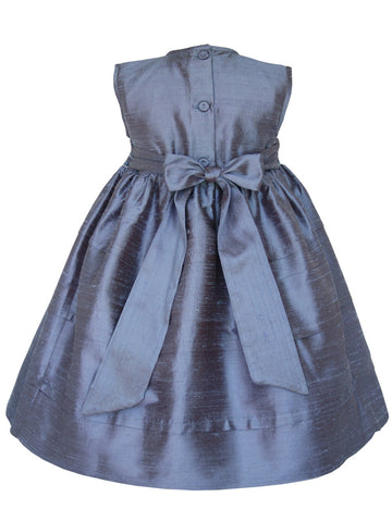 Girls Blue Grey Silk Smocked Sleeveless Dress Covered Buttons