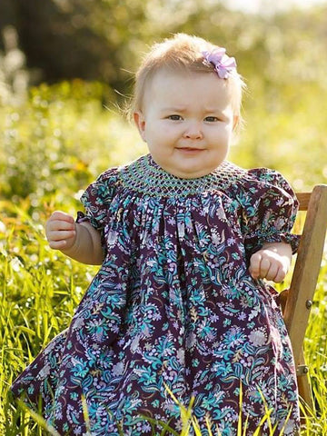 Hand Smocked Dresses for Baby Girls Purple and Mint