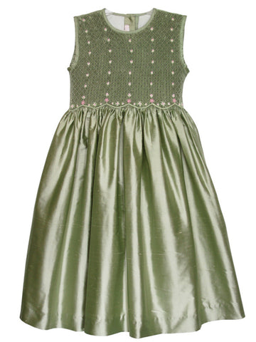 Flower Girls Dress in Olive Green Silk with Hand Smocked Bodice