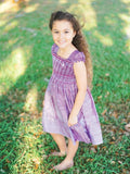 Special Occasion Flower Girls Silk Smocked Purple Dress