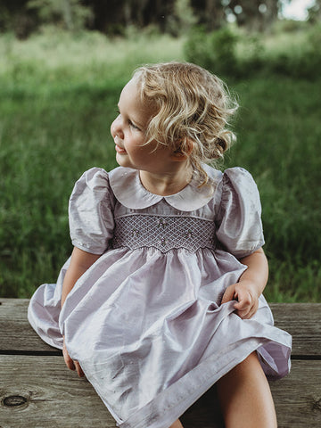 Flower Girls Lavender Silk Smocked Dress