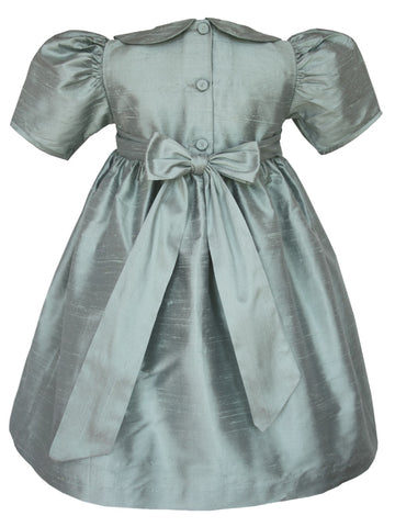 Girls silk dress with covered buttons and petticoat