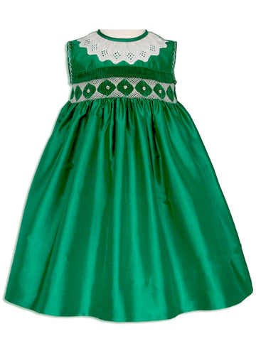Flower Girls Silk Smocked Green Dress 24m/2T
