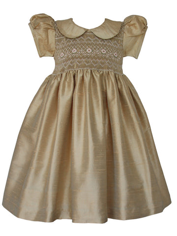 Flower Girls Golden Silk Smocked Dress