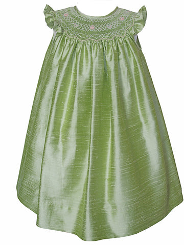 Anamarie Green Hand Smocked Girls Silk Bishop Dress