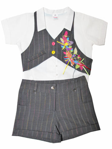 Girls Fun 3 pc Summer Short Vest White Shirt Set