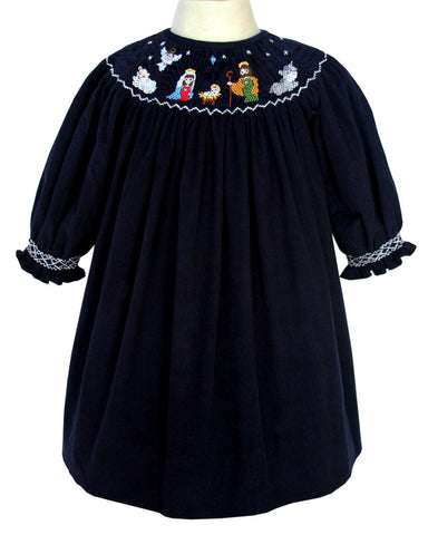 Girls Smocked Nativity of Jesus Bishop Dress Long-Sleeved--Carousel Wear - 1