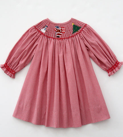Girls Red Christmas Santa Bishop Dress Long-Sleeved--Carousel Wear - 2