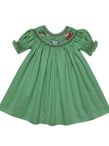 Hand Smocked Girls Santa Claus Christmas Dress Size 5