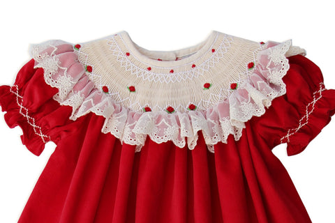 Baby Girls Hand Smocked Red and Ivory Christmas Bishop Dress with Lace