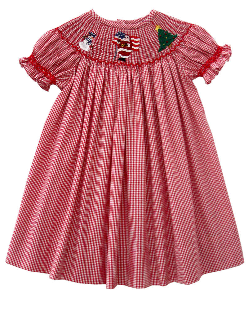 a9ba9acf03728 ... 1; Girls Red Christmas Bishop Dress with Santa and Snowman--Carousel  Wear - 3 ...