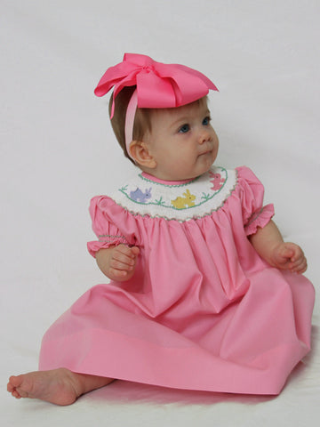 Girls Easter Bishop Dress with Smocked Pink Bunny--Carousel Wear - 2