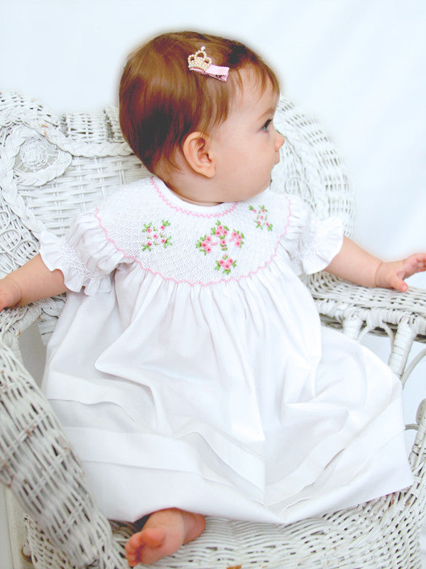 ef6bdb448 Girl s White Christening Easter Bishop Smocked Cross Dress