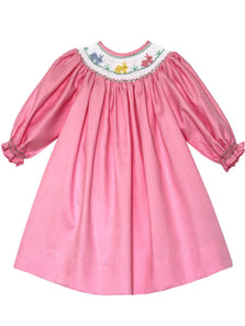 Girls Easter Bishop Dress with Smocked Pink Bunny Long Sleeve--Carousel Wear - 1